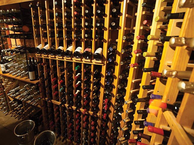 Part of Billy's wine selection