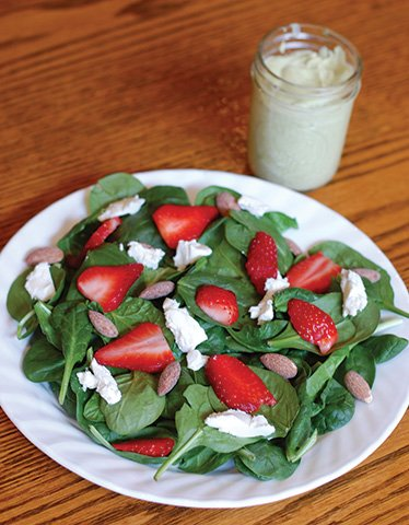 Strawberry and Goat Cheese Salad with Toasted Almonds and Creamy Avocado Dressing
