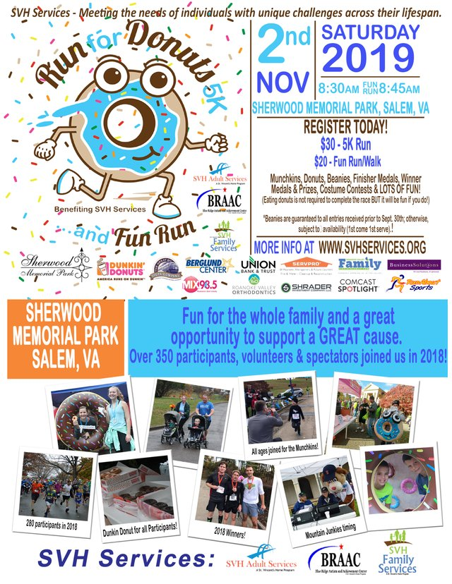 Donut Run One-Sheeter early registration - runabout logo 2019 and RVOrtho and new RVFamily logo.jpg